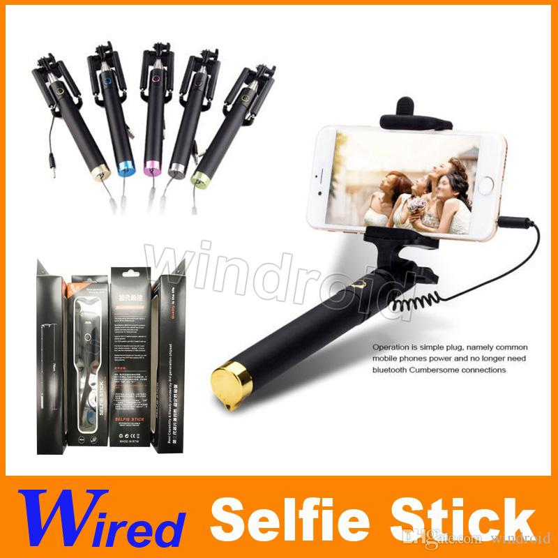 New Audio cable Integrated Monopod wired Selfie Stick Extendable Handheld Built-in Shutter Clip for IOS iPhone Android Smart phone 150 cheap