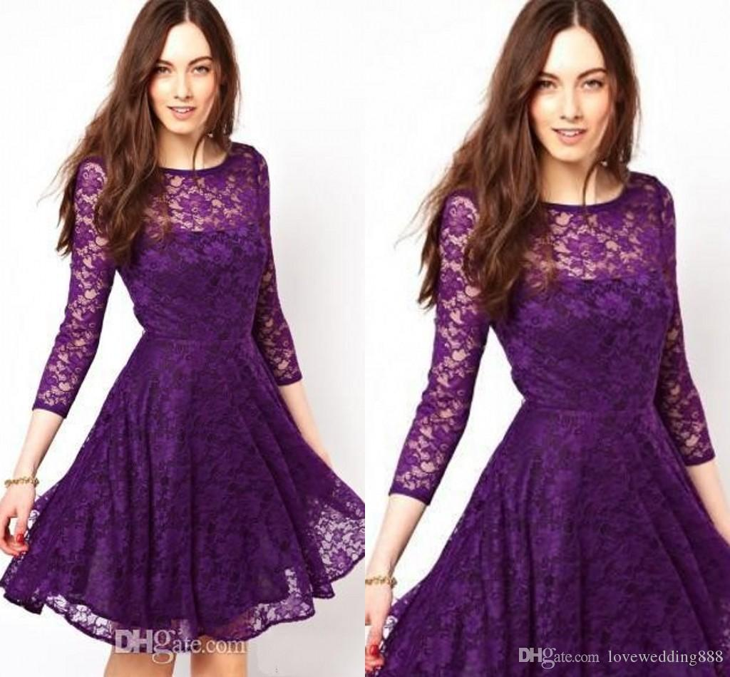 2019 Lace A-Line Crew Purple Lace Homecoming Dresses 3/4 Long Sleeve Knee-Length Graduation Dress Ruched Party Dress Sheer Neck Prom Gowns