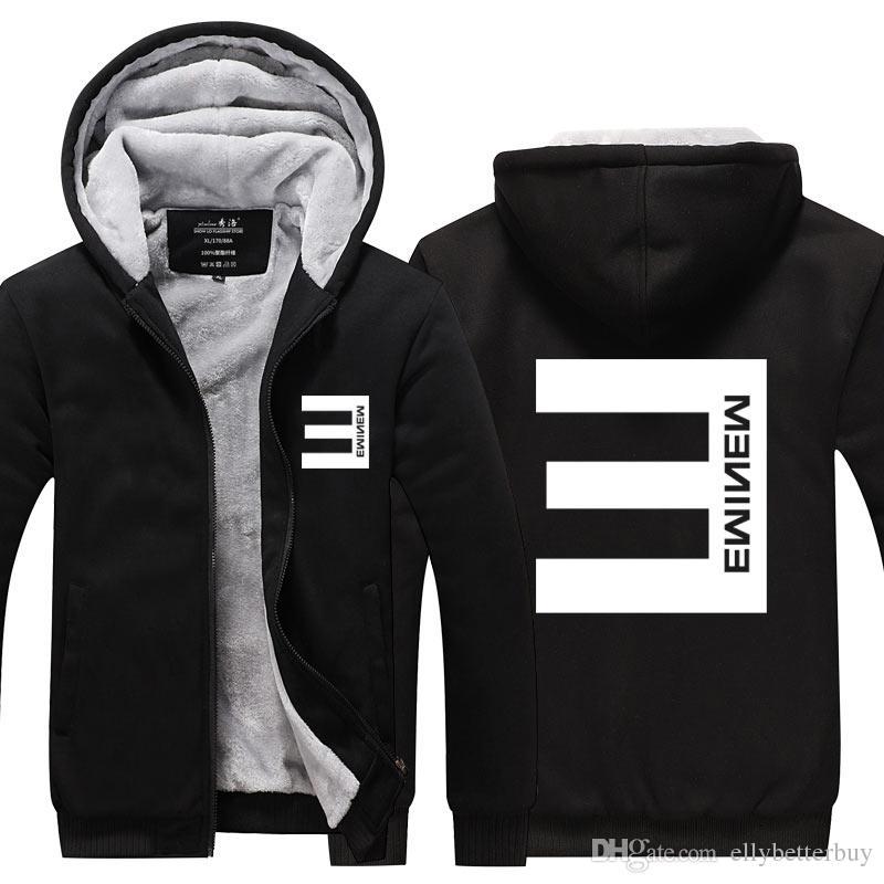 Nouveau 2017 EMINEM Hoodie Hiver Zipper Manteau Polaire Unisexe Épaissir Veste Sweatshirts Plus La Taille
