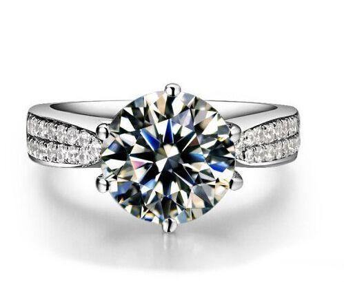 Venta al por mayor de 2 CT Anillos de diamante sintéticos de plata de ley Bandas de boda para mujeres Anillos de compromiso para mujeres Anillo de boda de oro blanco