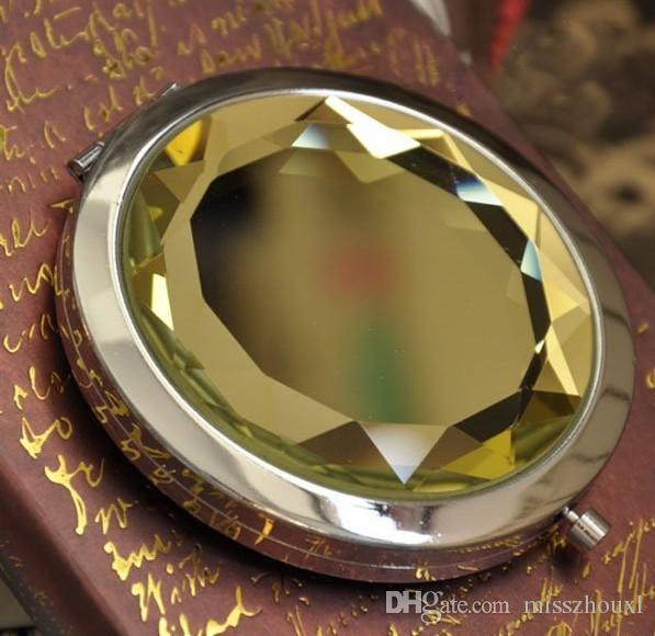 100pcs التي 7CM قابلة للطي مرآة ماكياج مرآة مدمجة مع الكريستال والمعادن مرآة جيب هدية الزفاف