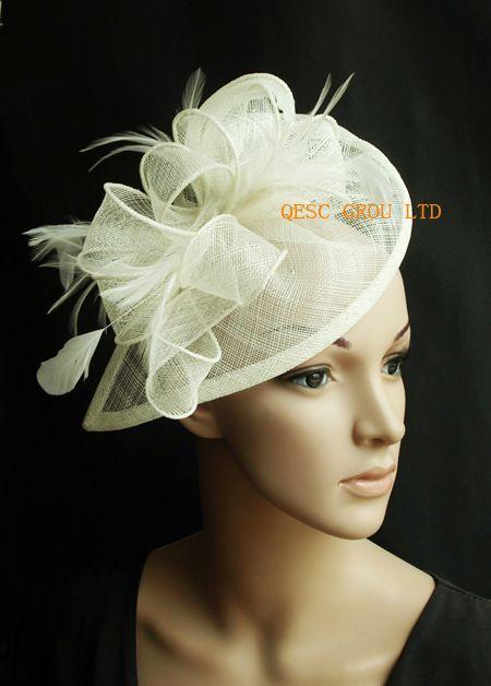 Creme Elfenbein Sinamay fascinator Hut für Hochzeitsfeier.