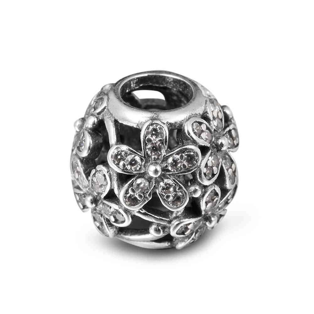 Daisy Silver Charm with Clear CZ 100% 925 Sterling Silver Beads Fit Pandora Charms Bracelet Authentic DIY Fashion Jewelry