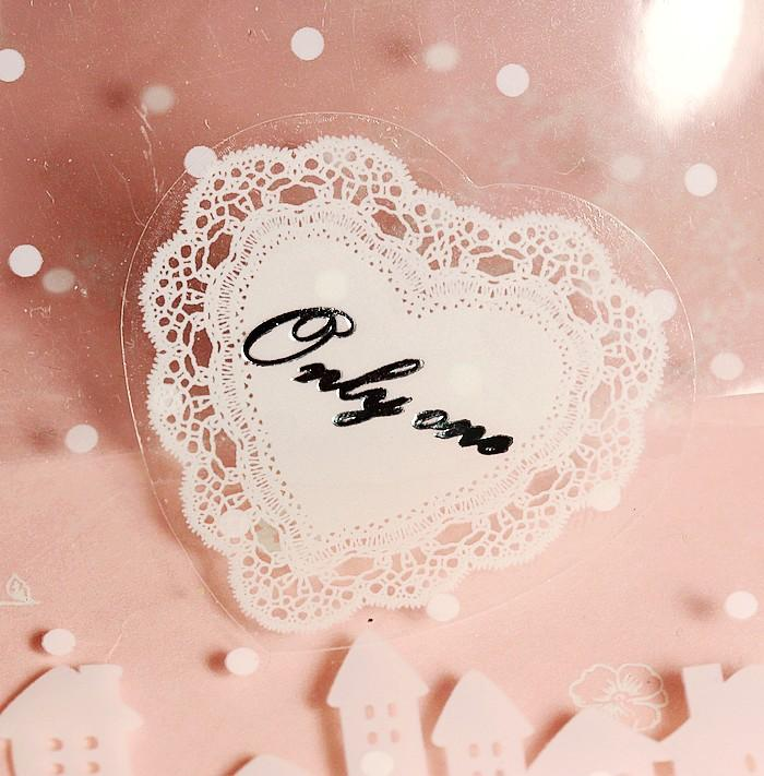 Free shipping heart shape lace transparent decoration sealing paster gift wrapping decorative sticker stickers