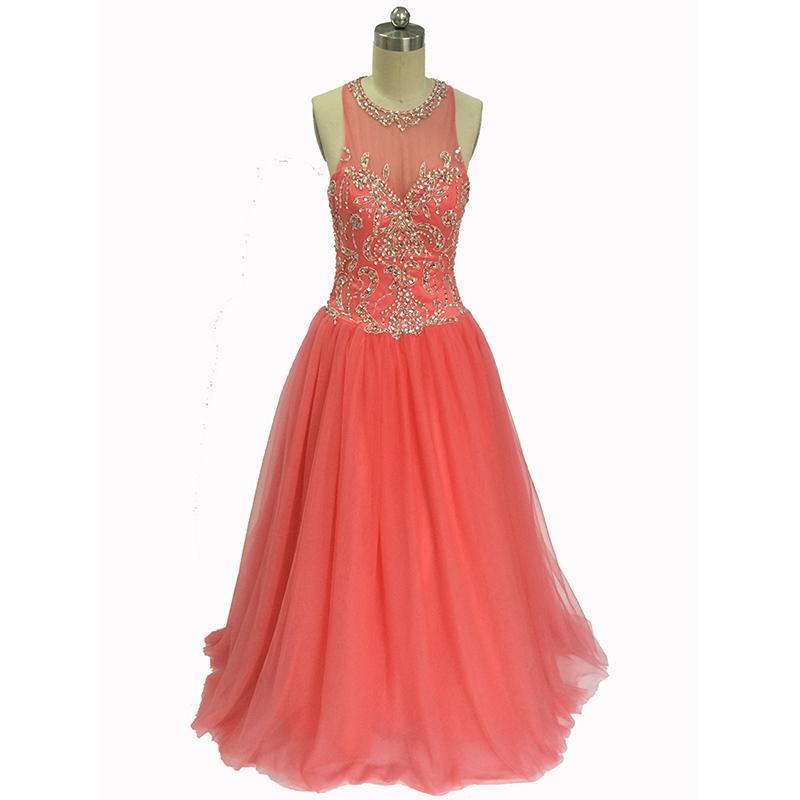 Real Photo Ball Gown Scoop Tulle Coral Beaded Tulle Elegante manica lunga da sera abito da ballo Quinceanera Abiti 2018