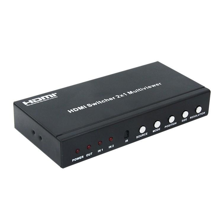 Freeshipping HDMI 2x1 Multi-Viewer with PIP 2 PORT HDMI switcher seamlessly not black screen with RS232 IR 2 screen splitter