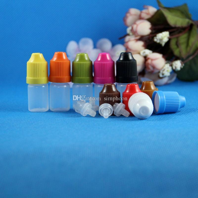 100 Conjuntos de 3 ml (1/10 oz) Plástico Conta-gotas Garrafas À Prova de segurança Caps Dicas Resistência LDPE E Vapor Cig Líquido 3 ml