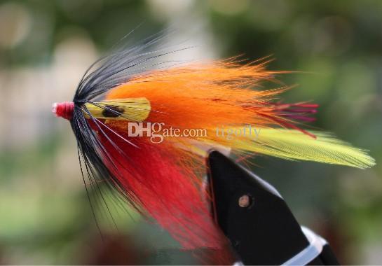 Tigofly 24 шт. / Лот Оранжевый корпус Желтая хвостовая трубка Fly Streamer Fly Лосось Форель Steelhead Fly Fishing Приманки мух