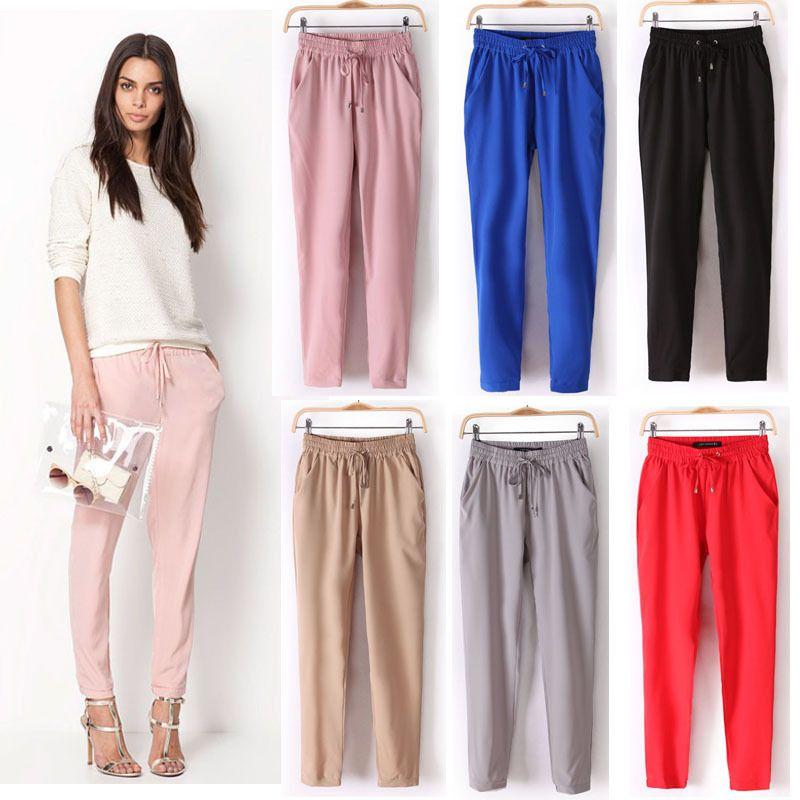 Ücretsiz kargo 2014 yaz yeni kadın rahat pantolon / moda seksi şifon elastik bel Gökkuşağı pantolon / pantolon 429