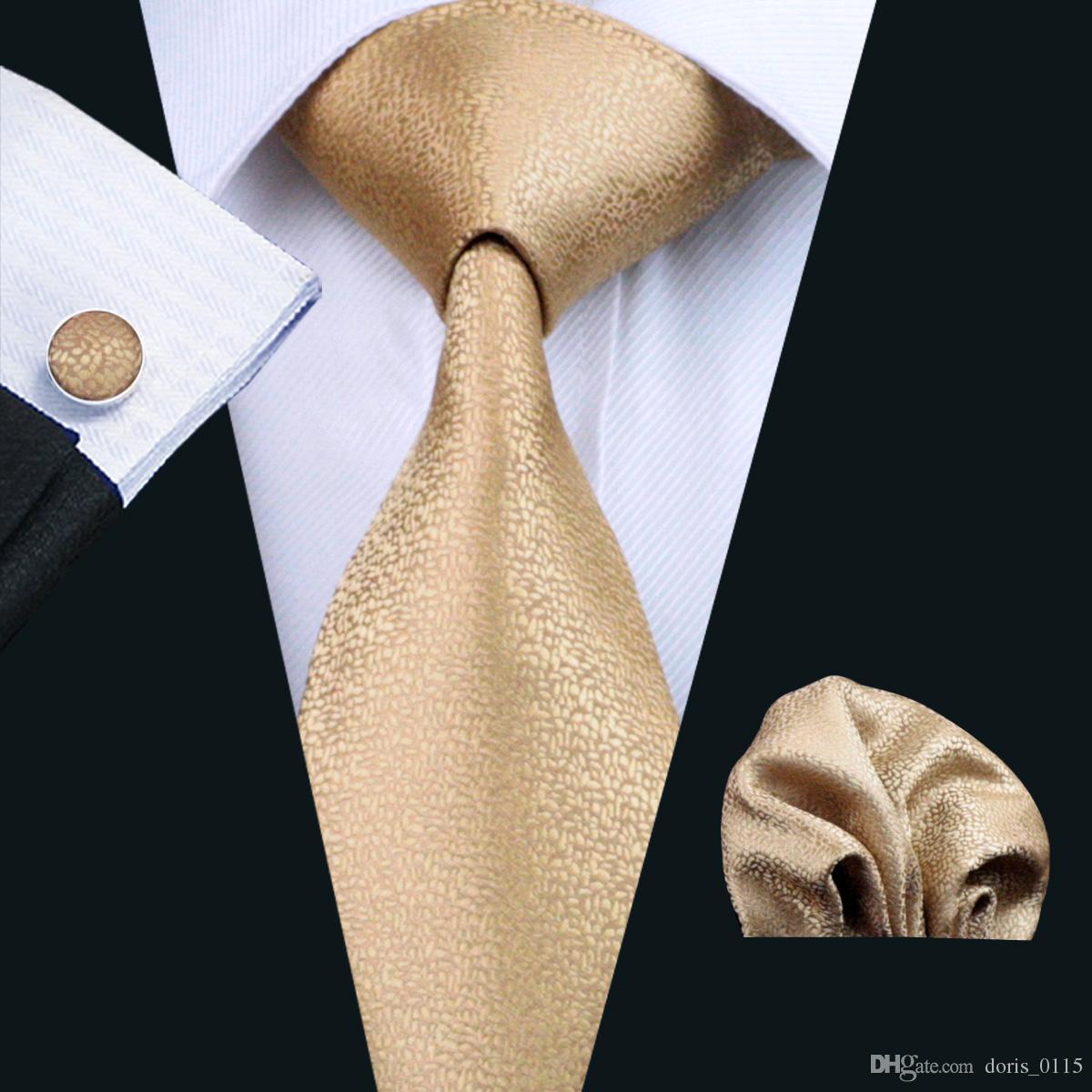 سريع الشحن الذهب التعادل مجموعة للرجال الحرير hankerchief أعلى بيع الجاكار المنسوجة الكلاسيكية الأعمال الأعمال الترفيه العنق مجموعة N-0532