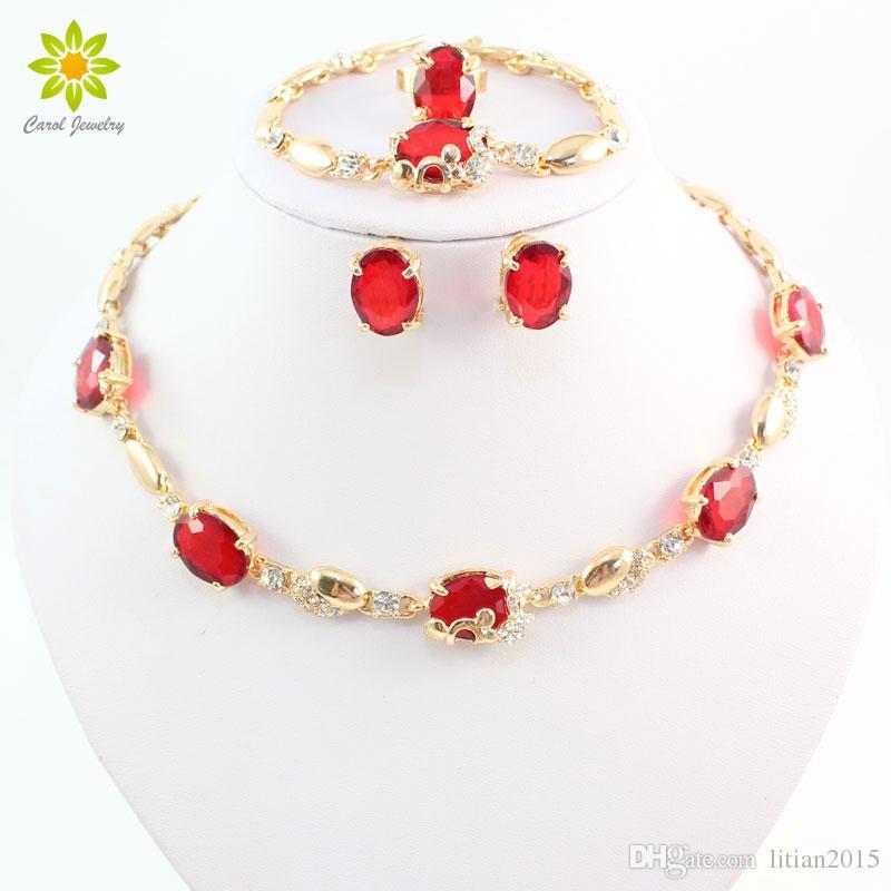 Women 18K Gold Plated Jewelry Sets New Fashion Red Austria Crystal Rhinestone Wedding Accessories Dubai Necklace Set