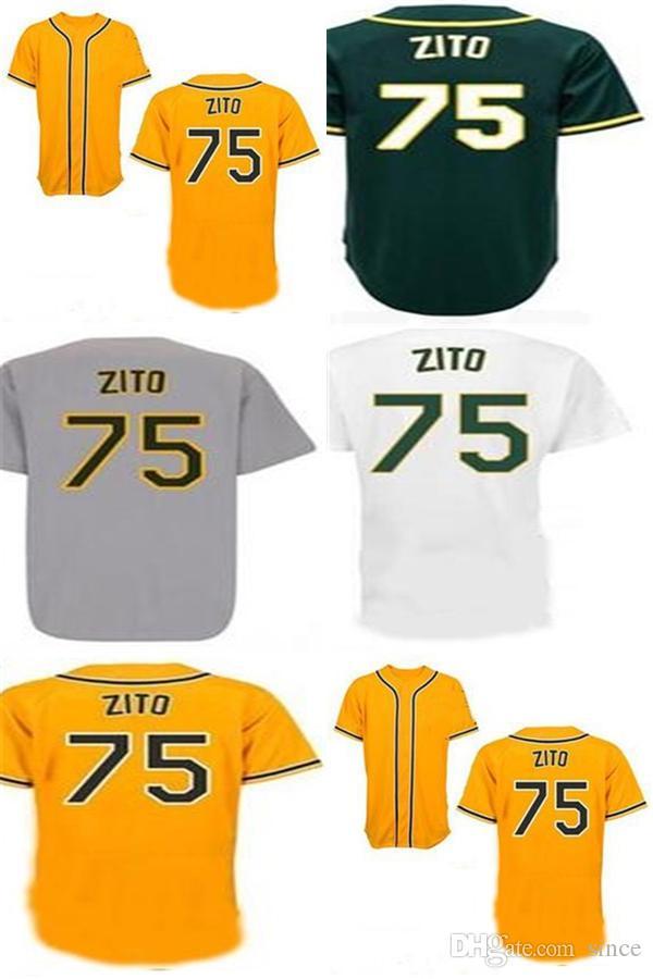 Мужские женские дети Oakland 75 Barry Zito Jerseys Factory Outlet Cool / Flex Base Home подальше от белый зеленый желтый Гэри белый бейсбол