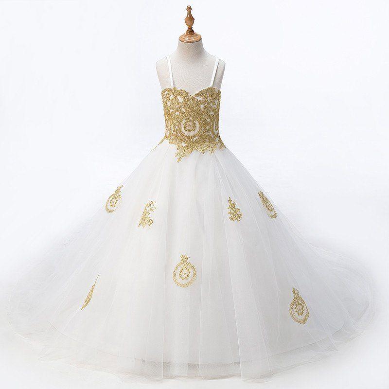 2021 Mode weiß mit gold spitze blume mädchen kleider prinzessin designer für hochzeit kinder mädchen tüll gerafft mit spaghettiriemen billig