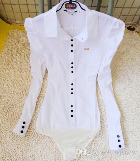 Kadınlar Beyaz Uzun Kollu Bodysuit Bluz Puf Kollu OL Ince Kariyer Gömlek Tops Giyim S / M / L / XL