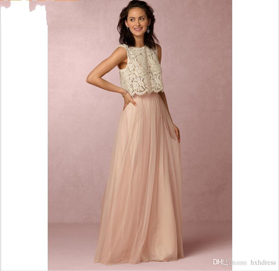 Vestiti Cerimonia Due Pezzi.Acquista New Vintage Blush Pink Due Pezzi Pizzo Abiti Da Damigella