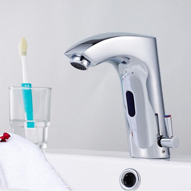 Bathroom Basin Sink Faucet with Automatic Sensor Water Waterfall Tap For Bathroom room machine automatic sensor faucet touch taps A-LC003