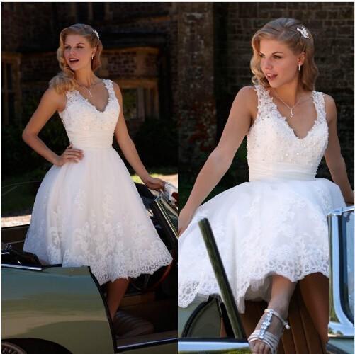 Short Knee Length Wedding Dresses Vestidos de Novia A Line Back Zipper Sheer Tulle V Neck Bridal Gowns With Applique Lace Beaded