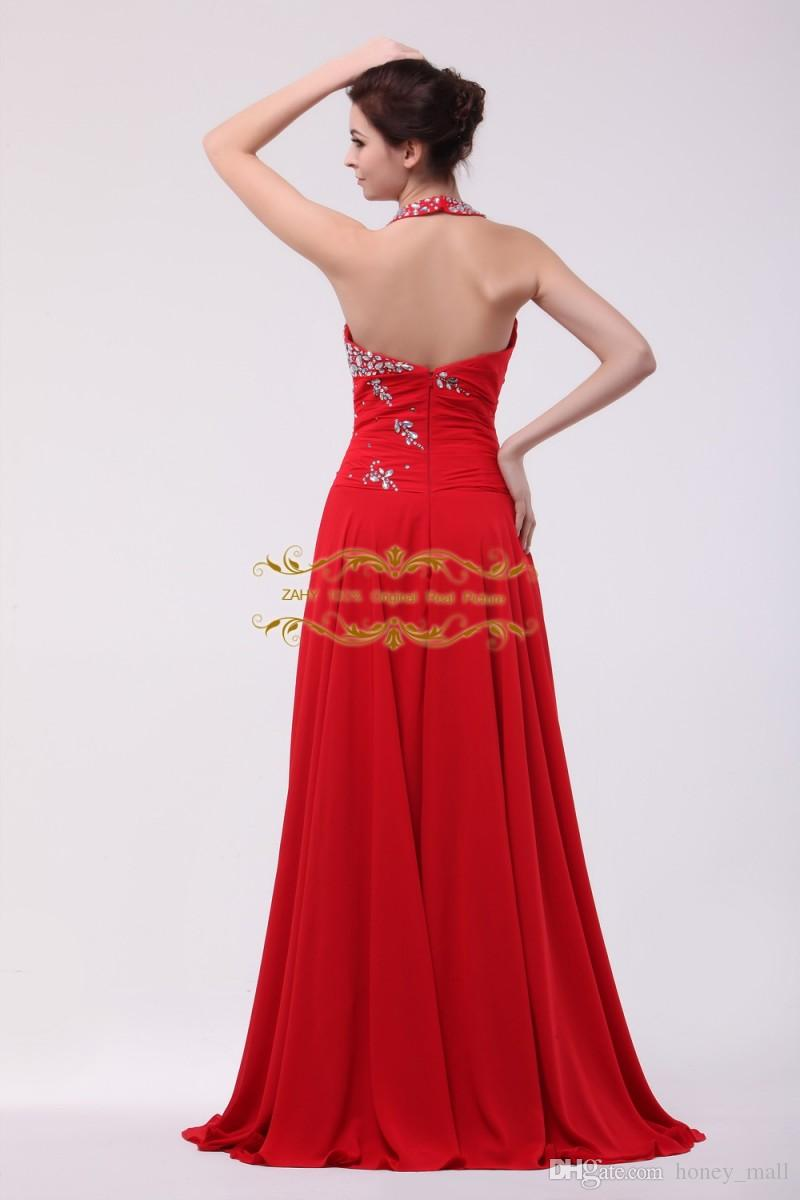 2015 Valentine Dresses ZAHY Red Sexy Halter Backless Prom Gown Crystal  Beading High Slit Evening Dress ...