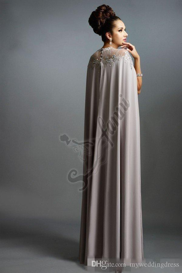 Sexy Formal Evening Dresses 2016 Elie Saab Gray With Cape Ruffles