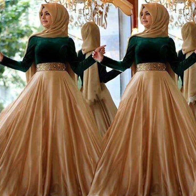 Zümrüt Yeşil Kadife Müslüman Abiye Uzun Kollu Arapça Gelinlik 2015 Vestidos de Festa Altın Kemer Kat Uzunluk Örgün Parti Törenlerinde