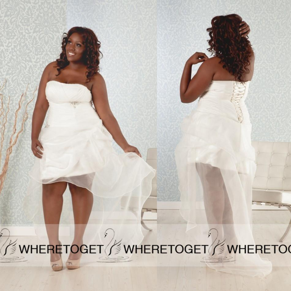 Discount 2015 New High Low Plus Size Wedding Dresses Strapless Organza  Country Wedding Dresses Lace Up Bridal Gowns Vintage Custom Chiffon A Line  ...