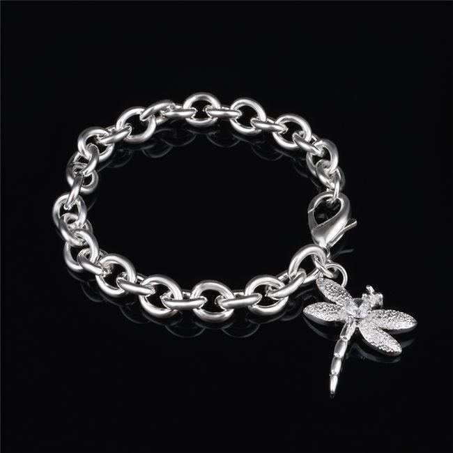 Söt design 925 Sterling Silver Dragonfly Hänge med Zircon Armband Mode Smycken Vacker present Gratis frakt