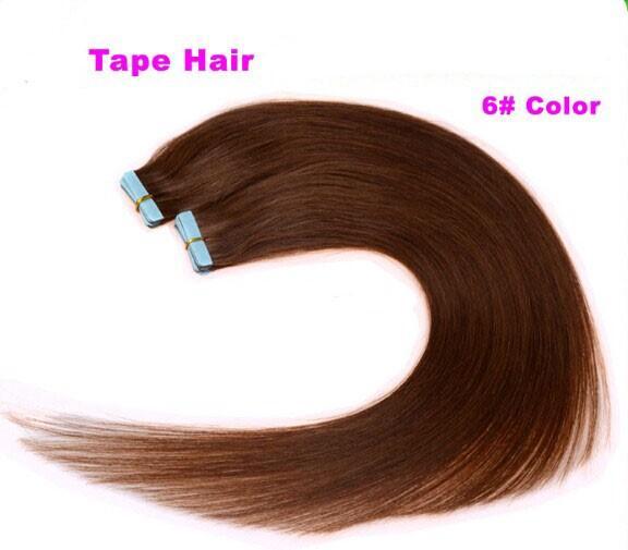 100g = 40 sztuk 18 20 cal 6 # jasnobrązowy klej skóra wąska taśma PU w ludzkich rozszerzeń włosów Indian Remy ogromny materiał 3-5 dni Dostawa