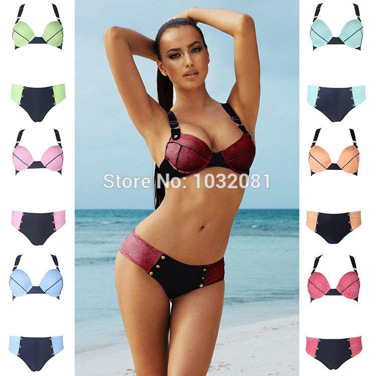 2015 sexy donne dello swimwear beach biquini faux denim push up bikini con pantaloni a vita bassa fondo costume da bagno costume da bagno maillot de bain
