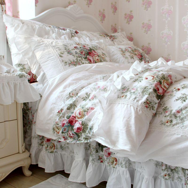 Lusso Bianco floreale Bedset da sposa Bedset Kingqueen Girls Home Sweet Europa Stile Pittura a olio Elegante Green Flower Biancheria da letto Kit Cotton Duvet Cover