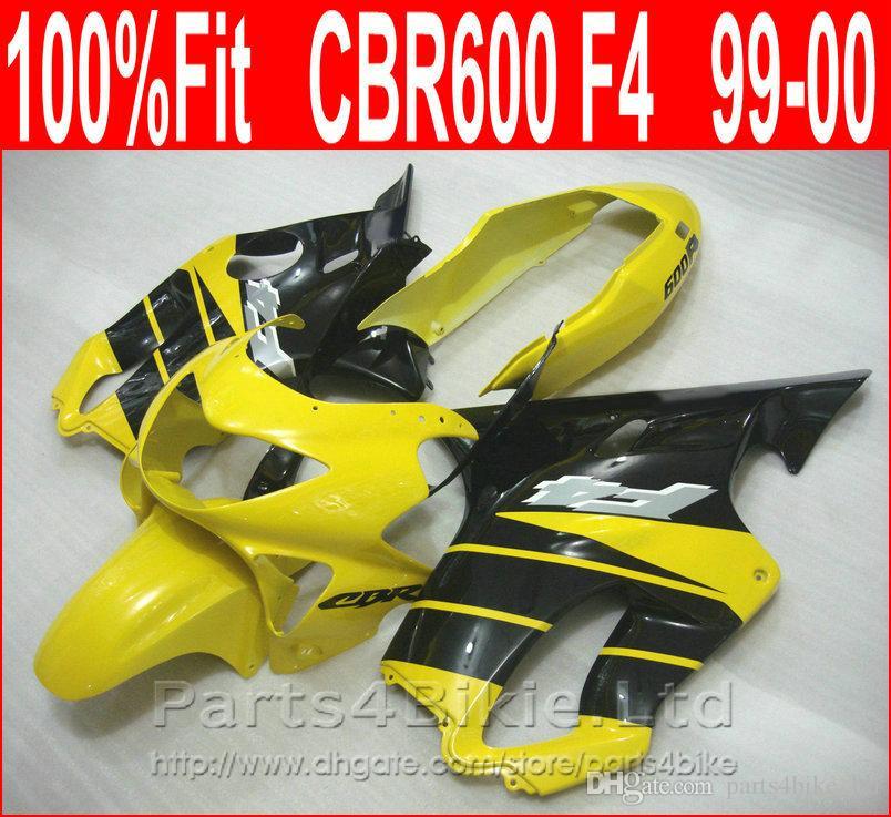 7Gifts Yellow black motorcycle fairings for Honda 99 00 CBR600 F4 bodykit CBR 600 F4 1999 2000 fairing kit EIXH