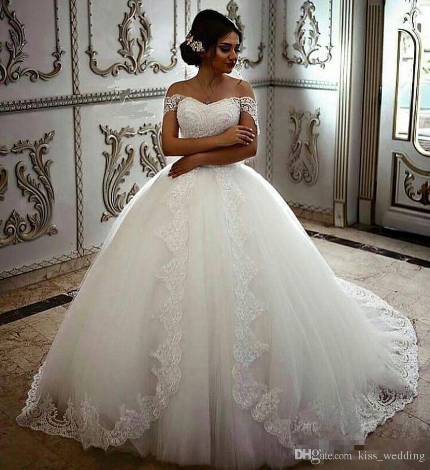 Elegant Lace Ball Gown Wedding Dresses Sweetheart Neckline Straps