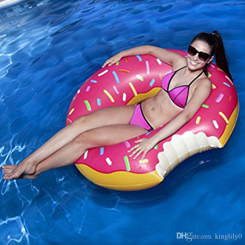 Inflatable Donut Tube Pool Float Beach Swimming Toy Kids Adult Swim Ring Fun CO