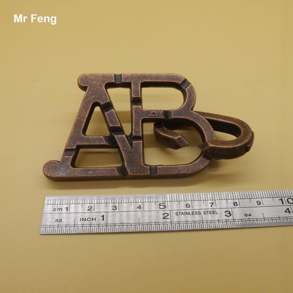 Metal Abc Anel Solução Brinquedo Desbloquear Puzzle Adereços Mágicos Inteligência Brinquedos Adultos