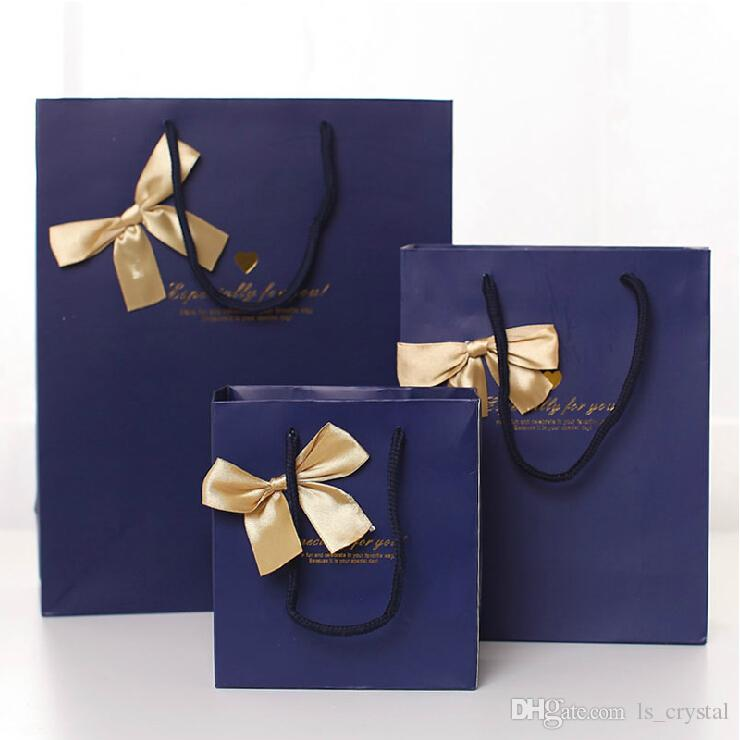17 * 22 * 7cm 고귀한 품질 Bowknot 종이 선물 가방 비즈니스 선물 호의 포장 봉투 명절 선물 패키지 파티 용품 20pcs / lot WS084