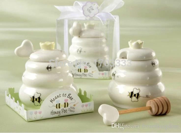 """Free shipping 100pcs/lot """"Meant to bee"""" Ceramic Honey Pot with Wooden Dipper wedding baby shower party supplies 0915#15"""