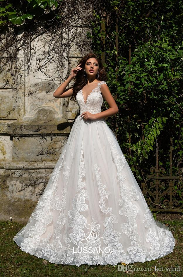 a715901281 ... Simple Elegant White Summer Beach Wedding Dresses Illusion Back Lace  Appliques A Line Cheap Bohemian Country