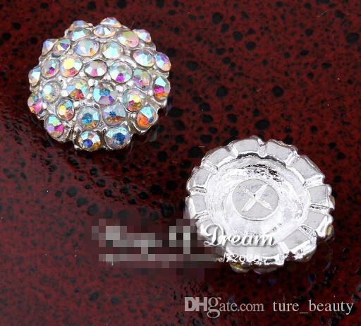 Скидка 5% (100 шт. / Лот) 18 мм Серебряный ручной работы Starburst Metal Crystal Кнопка для Bridal Brouches Alloy AB Rhinestone Flatback Свадебная кнопка