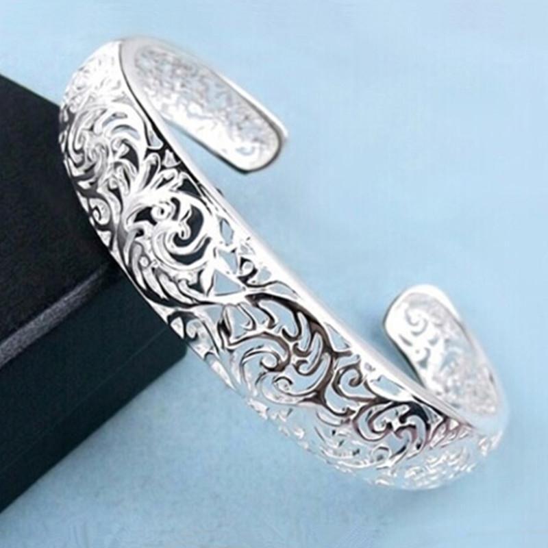 Vintage 925 Sterling Silver Carved Bangle Bracelet White Gold Plated