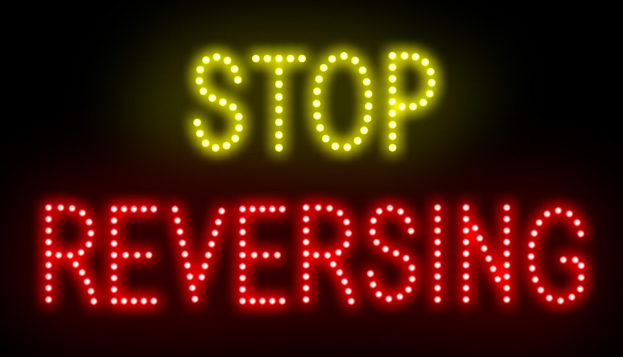 Nova venda personalizado LEVOU sinais de luz neon STOP REVERSING slogans atraentes semi-ao ar livre tamanho 55 * 33 cm Frete grátis