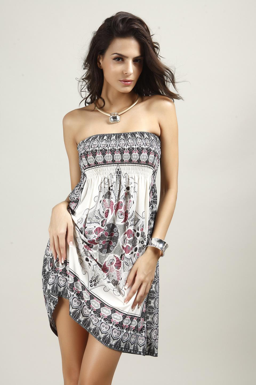 Großhandel Böhmisches Kleid Short Beach Backless Kleider Schulterfrei Boho  Style Boho Kleid Ethnische Brasil Tunika Sommer Günstige Kleidung China Von