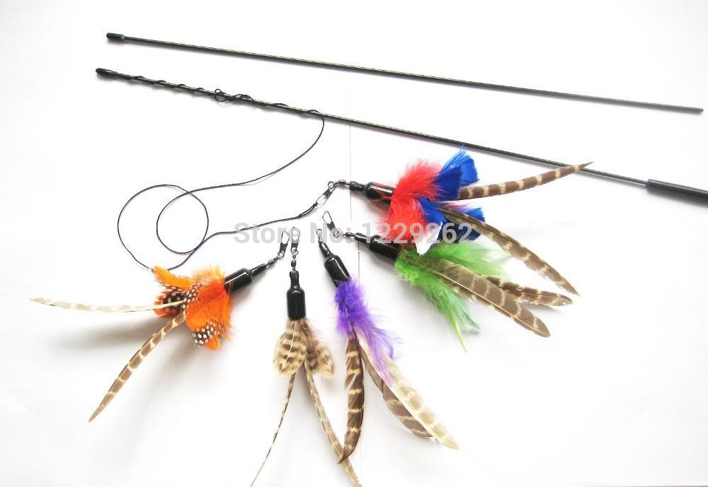 Çeşitli renkler da kuş tüyü kedi oyuncak kedi dangler bağlı olabilir doğal kedi değnek oyuncak