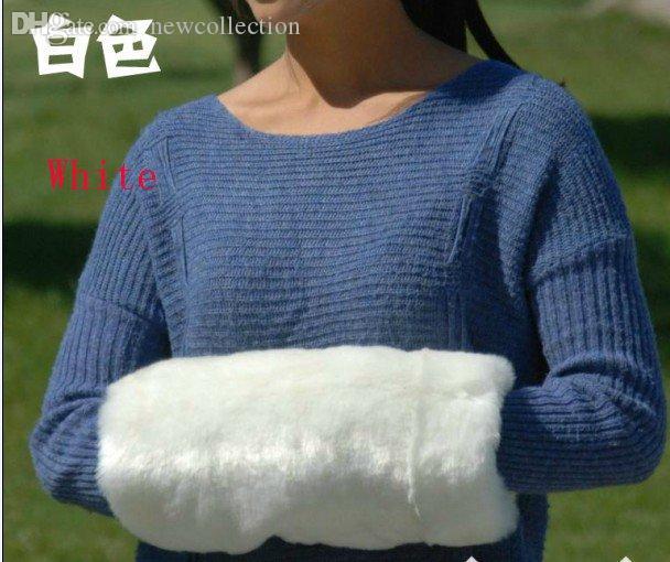 Großhandels-weiße Faux-Pelz-Arm-Wärmerhandwärmer-Muffhände wärmen Käfigkissen Weihnachtsgeschenke 36 * 18cm