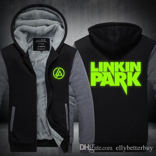 Hoodie dos homens New Hot inverno Linkin Park Thicken velo Music Band US UE Plus Size