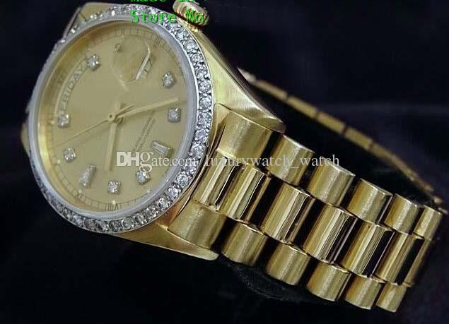고급 패션 시계 최고 품질 18k 옐로우 골드 다이아몬드 다이얼 베젤 18038 시계 자동식 남자 시계 손목 시계