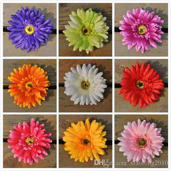 100pcs Gerbera flower heads 10cm/3.94 inches Daisy Artificial Sunflower for home party Wedding Silk decorative flowers
