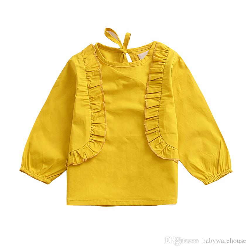 Baby Girls Clothes T-shirts 2018 Spring Autumn Ruffle Long Sleeve Blouses Tees Toddler Girls Tops Solid Cute Baby Kids Clothing Outfits