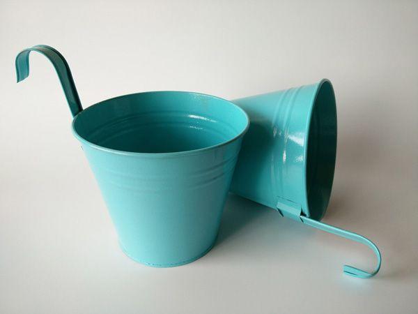 Blue decor buckets for kindergarten Iron flowerpots with hook metal Hanging baskets Hook Planter Garden Series Modern