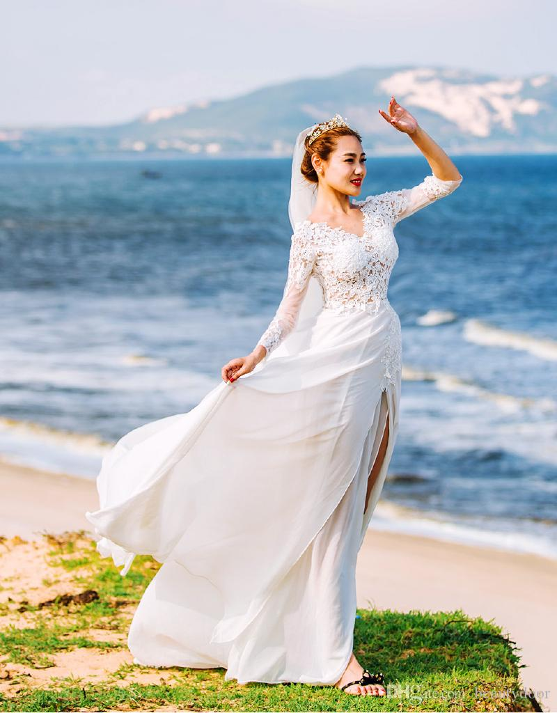 Discount Elegant Lace Top Beach Wedding Dresses 2017 Layered Chiffon ...