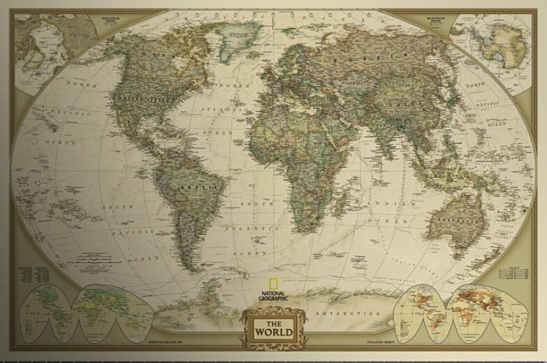 Large Vintage World Map Home Decoration Detailed Antique Poster - Large vintage world map