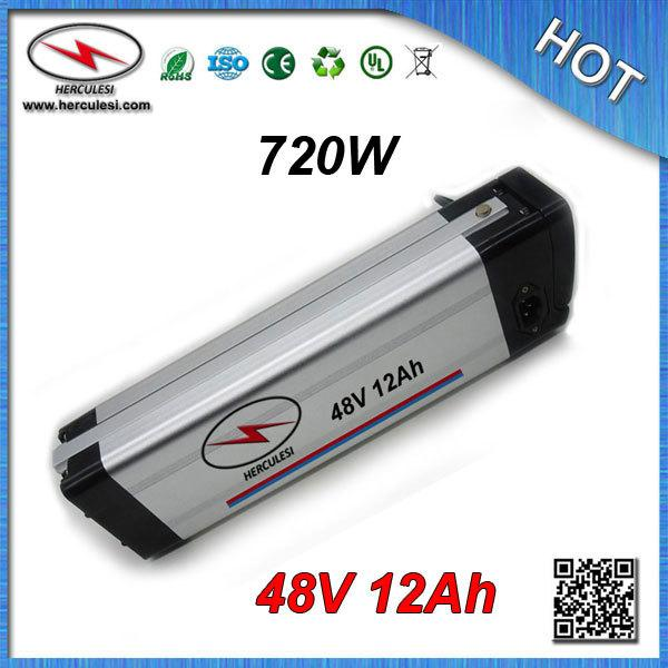 Batterie profonde de vélo électrique du cycle 700W 48V 12Ah avec 3.7V 2500mah 18650 cas d'alu de cellules chargeur 13S 15Amp BMS + CC / CV 54.6V 2A